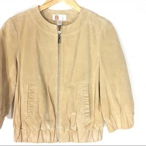 Bernardo Collection 3/4 Sleeve Suede Bomber Jacket